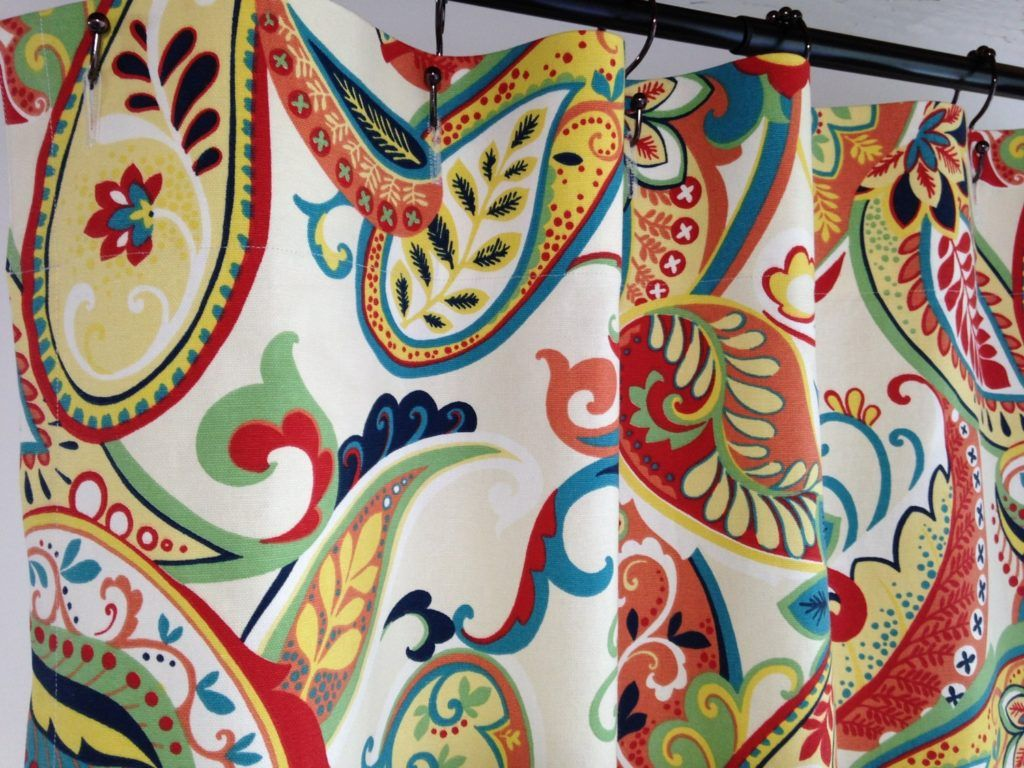 Custom Fabric Shower Curtain Whimsy Paisley Multi Navy Yellow Red Ivory X Extra Wide