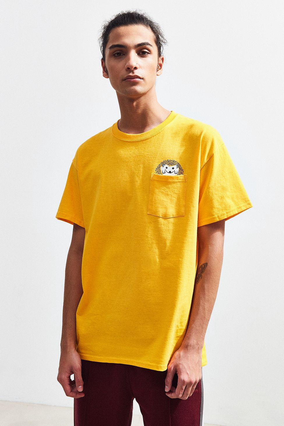 3260b804 Urban Outfitters Hedgehog Pocket Tee - Yellow   Products   Mens tops ...