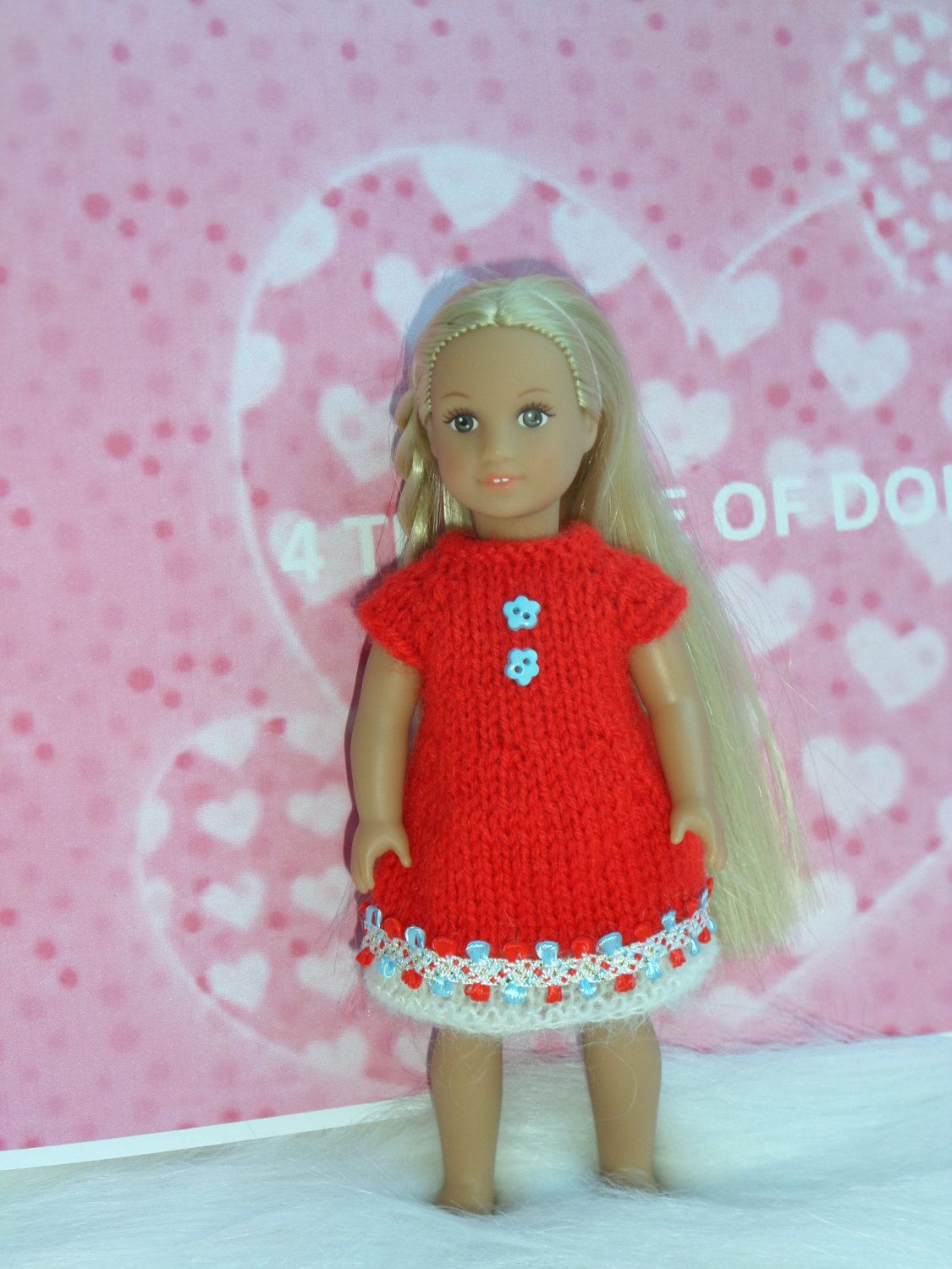 Mini American Girl / Our Generation  mini dolls hand knitted dress by 4THELOVEOFDOLLS on Etsy