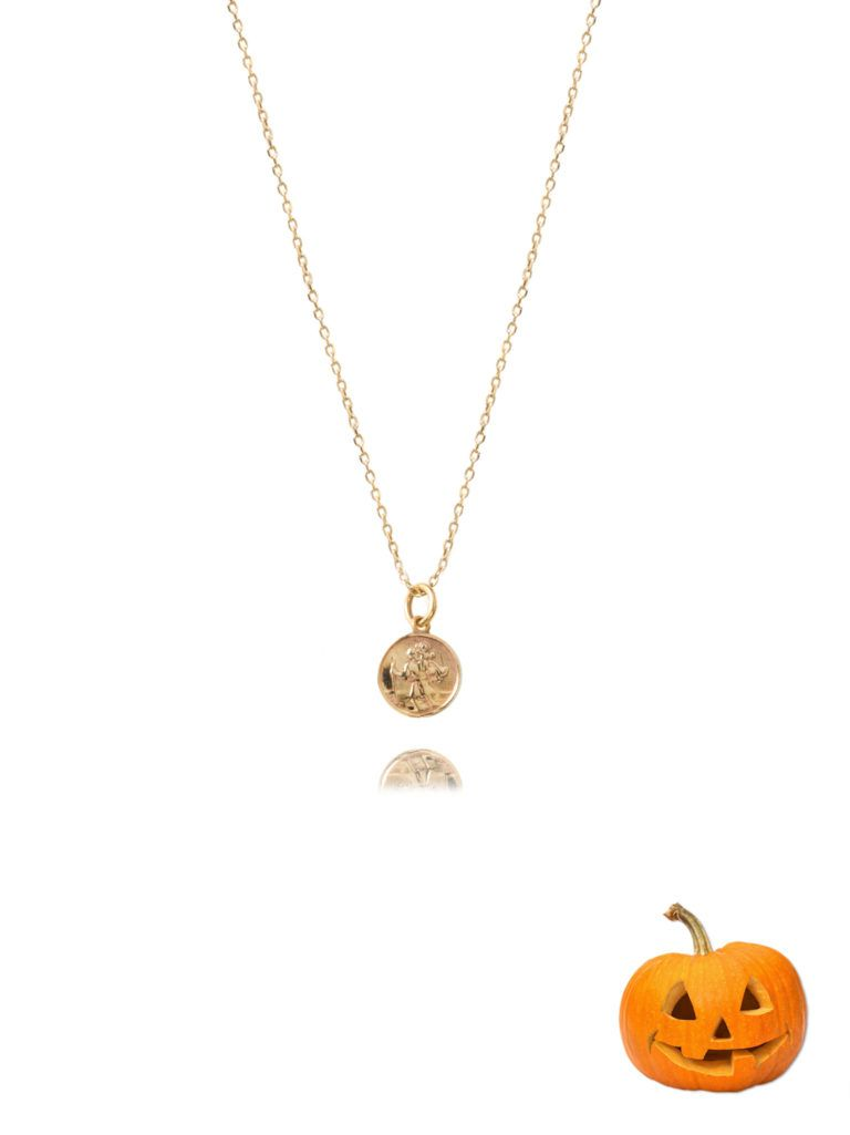 49ba54b82ff Small Gold St Christopher Necklace   Hello Halloween   St ...