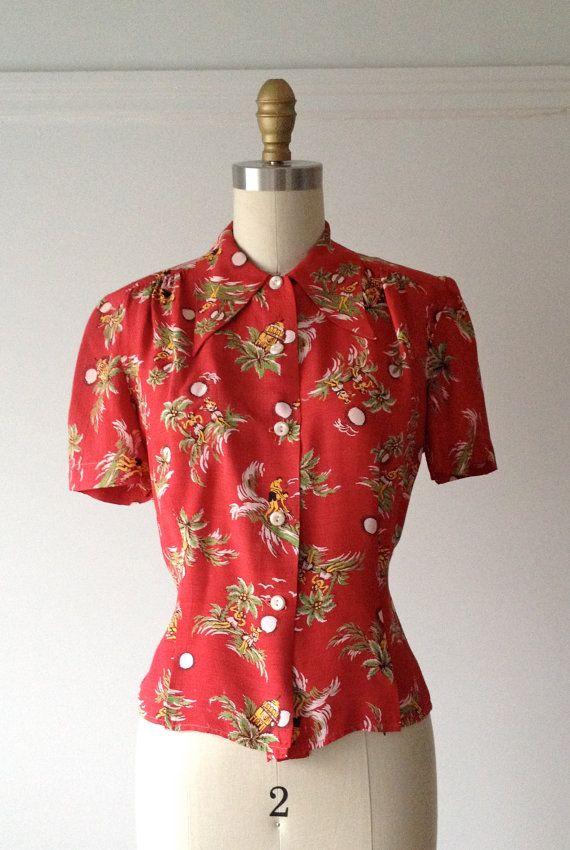 vintage 1940s rayon blouse / 40s novelty tiki blouse