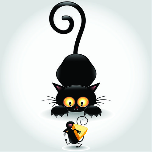 Amusing Black Cat Vector 03 Cat Vector Cat Tattoo Black Cat