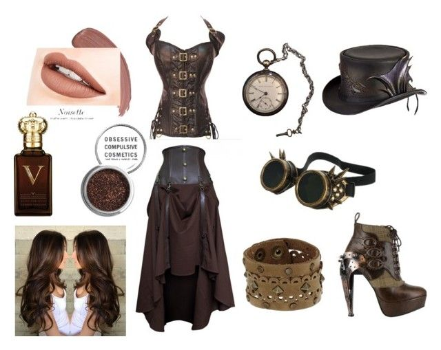 """""""SteamPunk"""" by xsugarskull ❤ liked on Polyvore featuring Overland Sheepskin Co., Leatherock, HADES, Obsessive Compulsive Cosmetics, Clive Christian and Forever 21"""