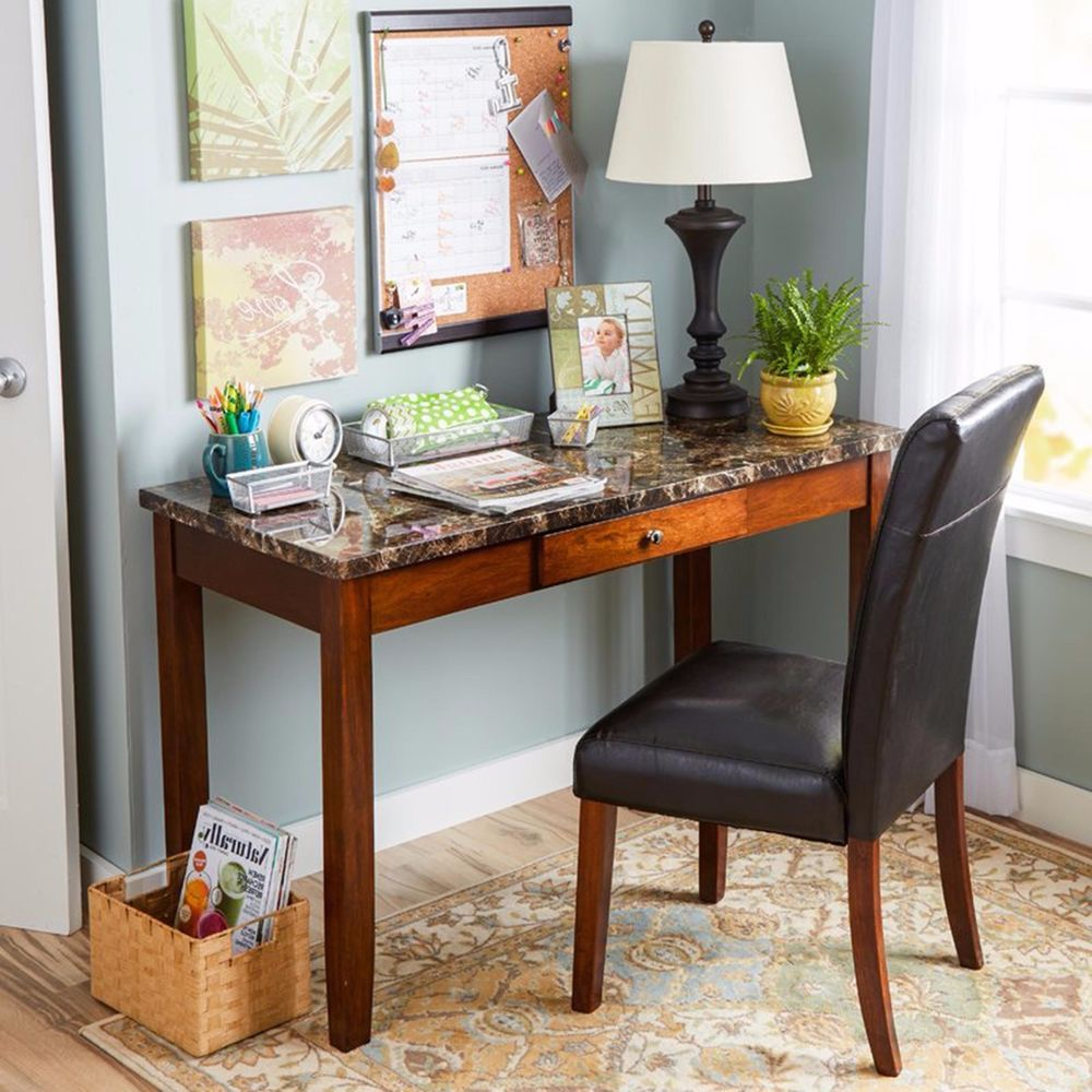 wood writing desk chair set leather faux granite top laptop table