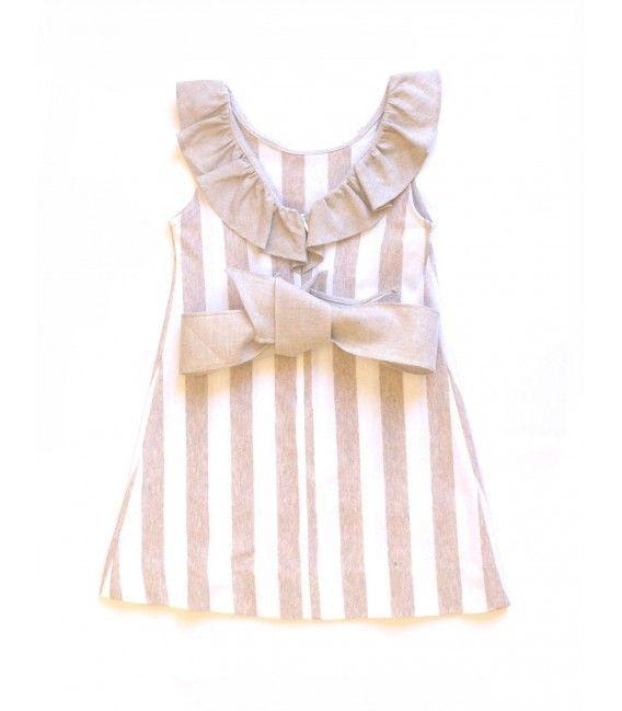 cce4e315e Vestido niña a rayas beige y blancas de Ancar