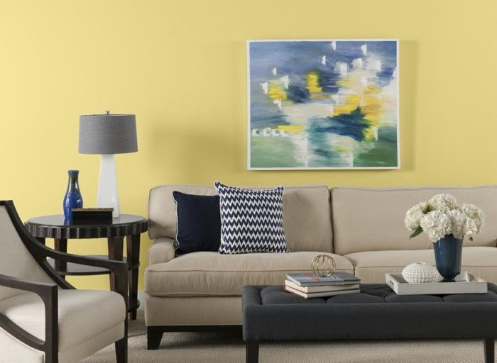 dekoideen wohnzimmer wandbild gelbe wandfarbe beige möbel - wohnzimmer deko ideen