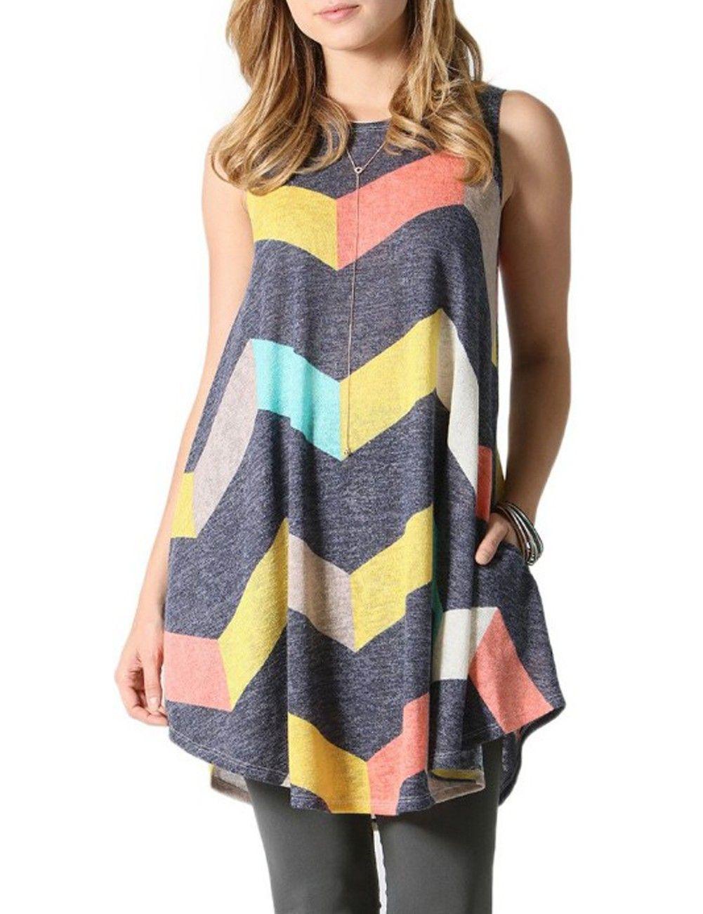 cf5ec35ef5ff0 Classical Grey Sleeveless Print Shirts Floaty Trim Chic Online ...