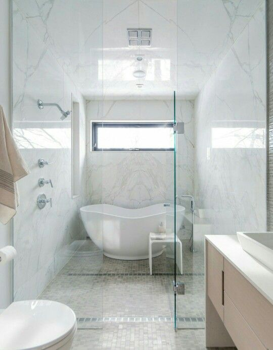 Love the concept of a shower over a free standing tub for the ...