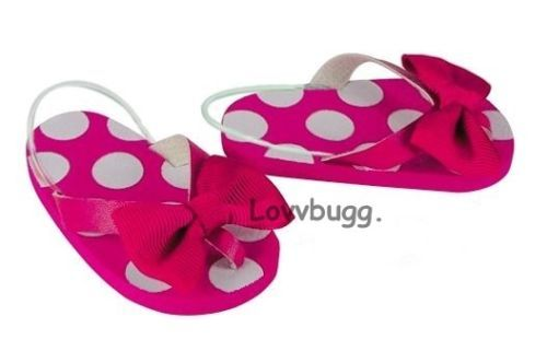 Hot-Pink-Spots-Dots-Flip-Flops-Doll-Shoes-for-18-Girl-Widest-American-Selection