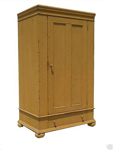 Bon PRIMITIVE PAINTED COUNTRY PINE ARMOIRE WARDROBE TV CABINET CUPBOARD PAINTED  | EBay