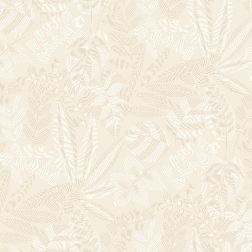 Seabrook Designs Botanica Striped Leaves Sand Dune And Ivory Paper Strippable Roll Covers 60 75 Sq Ft Ry30603 The Home Depot Seabrook Designs Leaf Wallpaper Botanical Wallpaper