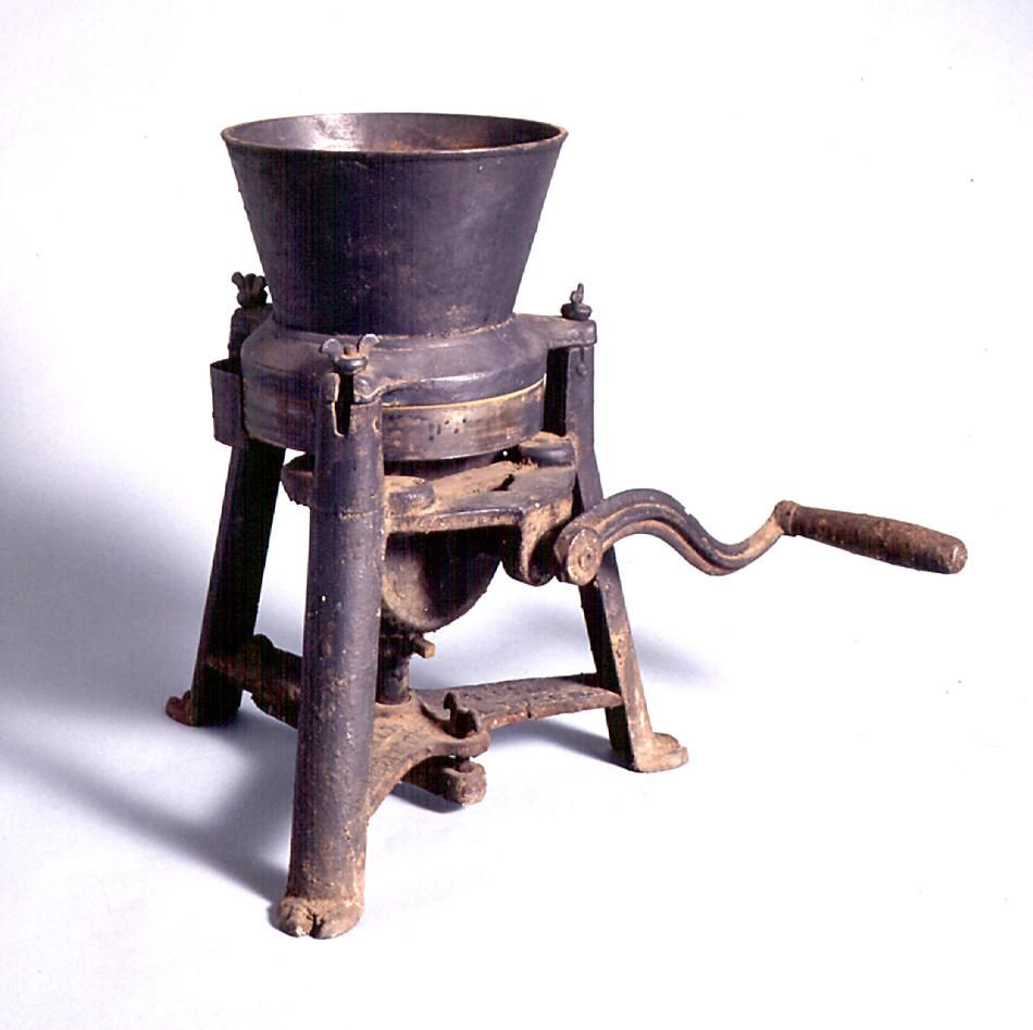 Metal food grinder used in the kitchen of a mental health hospital, Victoria, Australia, circa 1880.  Collection: Museum Victoria