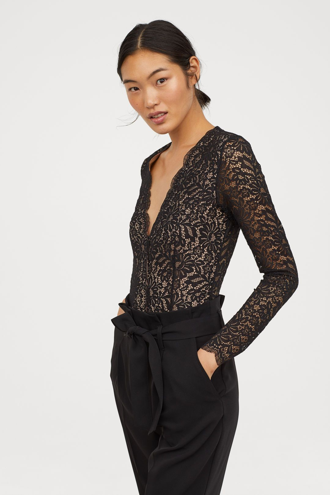 c9978729fa Lace V-neck Bodysuit - Black - Ladies