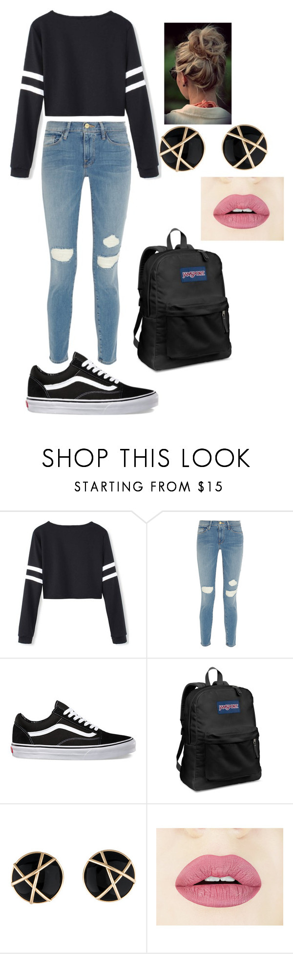 """""""Lazy Day"""" by jazpreet on Polyvore featuring Frame Denim, Vans, JanSport, women's clothing, women's fashion, women, female, woman, misses and juniors"""