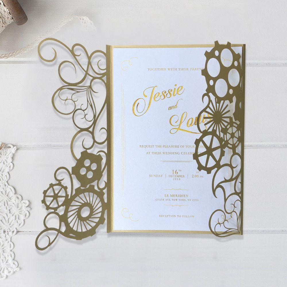 73d2719fb7ef Vintage Wedding Invitations Laser Cut Navigation Wedding Invitation ...