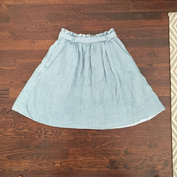 Anthropologie Fei Chambray Tie-back Skirt Darling skirt in chambray denim with ruched waist, pockets, and waist tie. Perfect for spring!  Worn once. Perfect condition. Anthropologie Skirts A-Line or Full