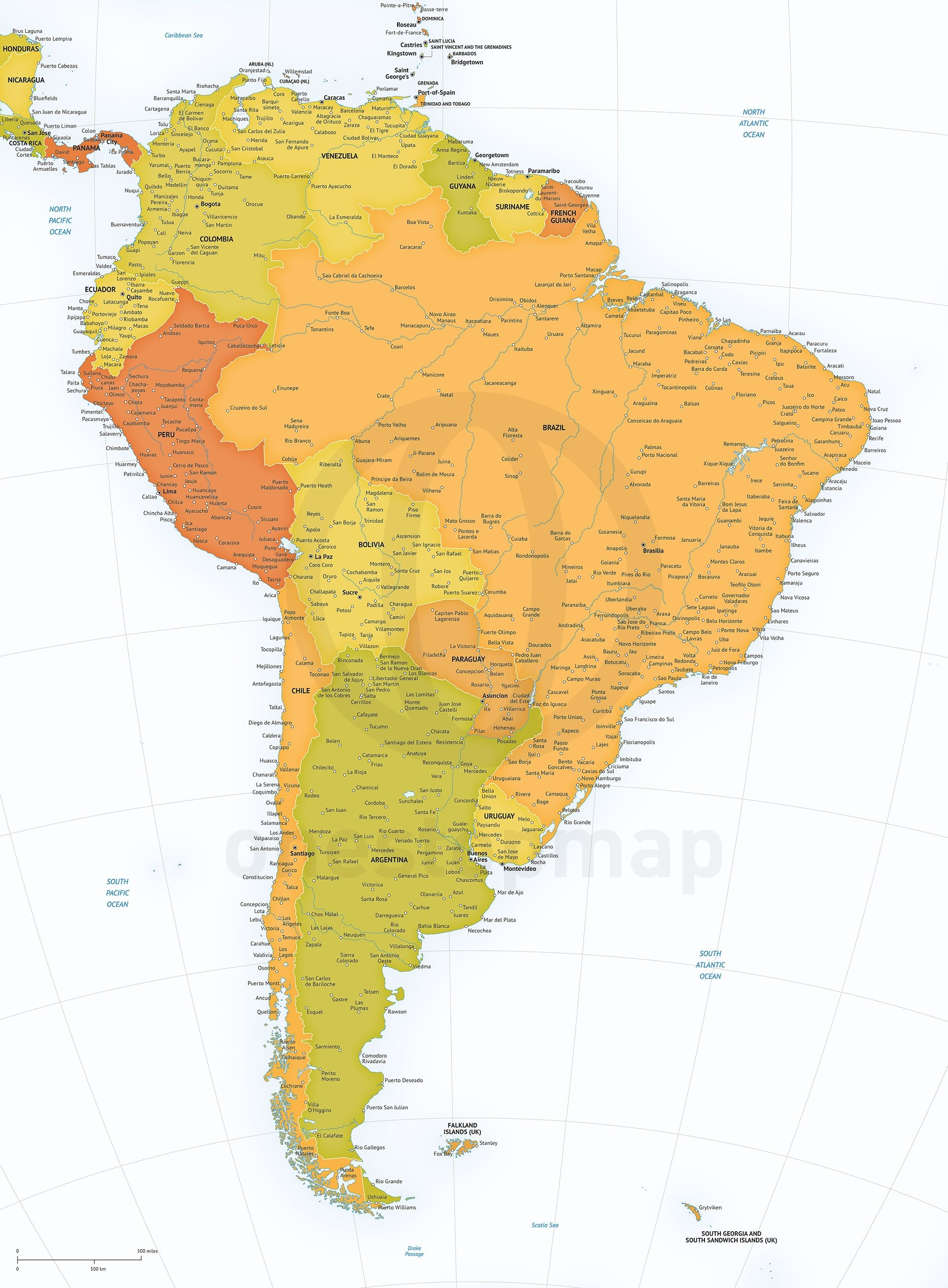 Vector Map of South America high detail South america