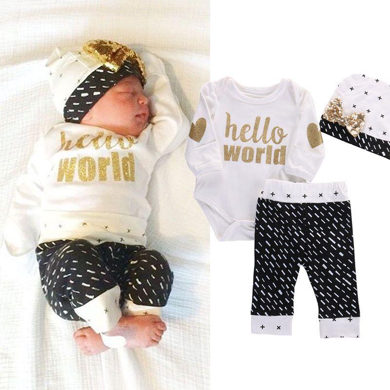 Newborn Baby Girls Boys Top Bodysuits Pants Leggings Casual Long