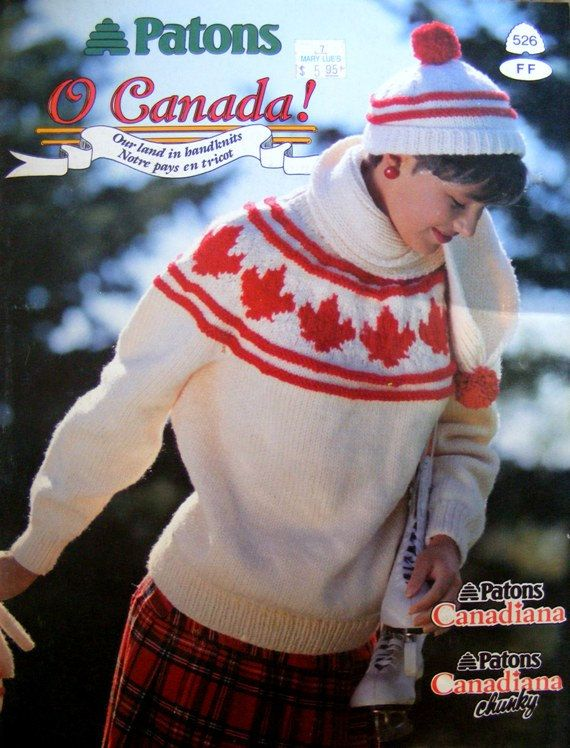 Patons O Canada Knitting Patterns Book, Vintage 1989, Sweaters ...