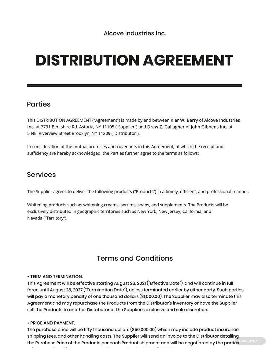 Distribution Agreement Template in 2020 Business letter