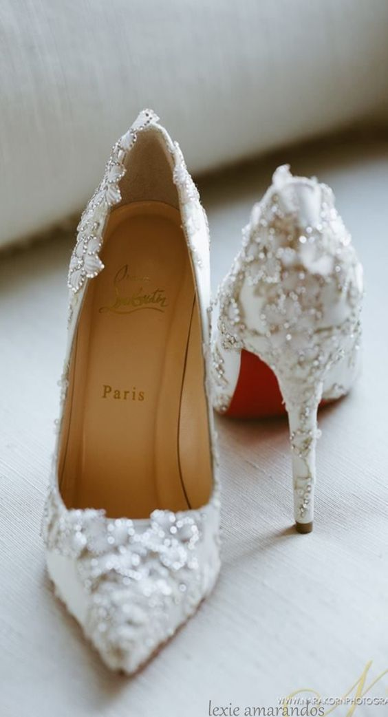 4529263edc4be Drop-dead gorgeous Christian Louboutins | Stunning bridal shoes | Bridal  shoe inspiration | Bridal Fashion | Bridal Accessories | White pumps with  floral ...