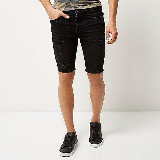 Black distressed skinny fit denim shorts - casual shorts - shorts ...