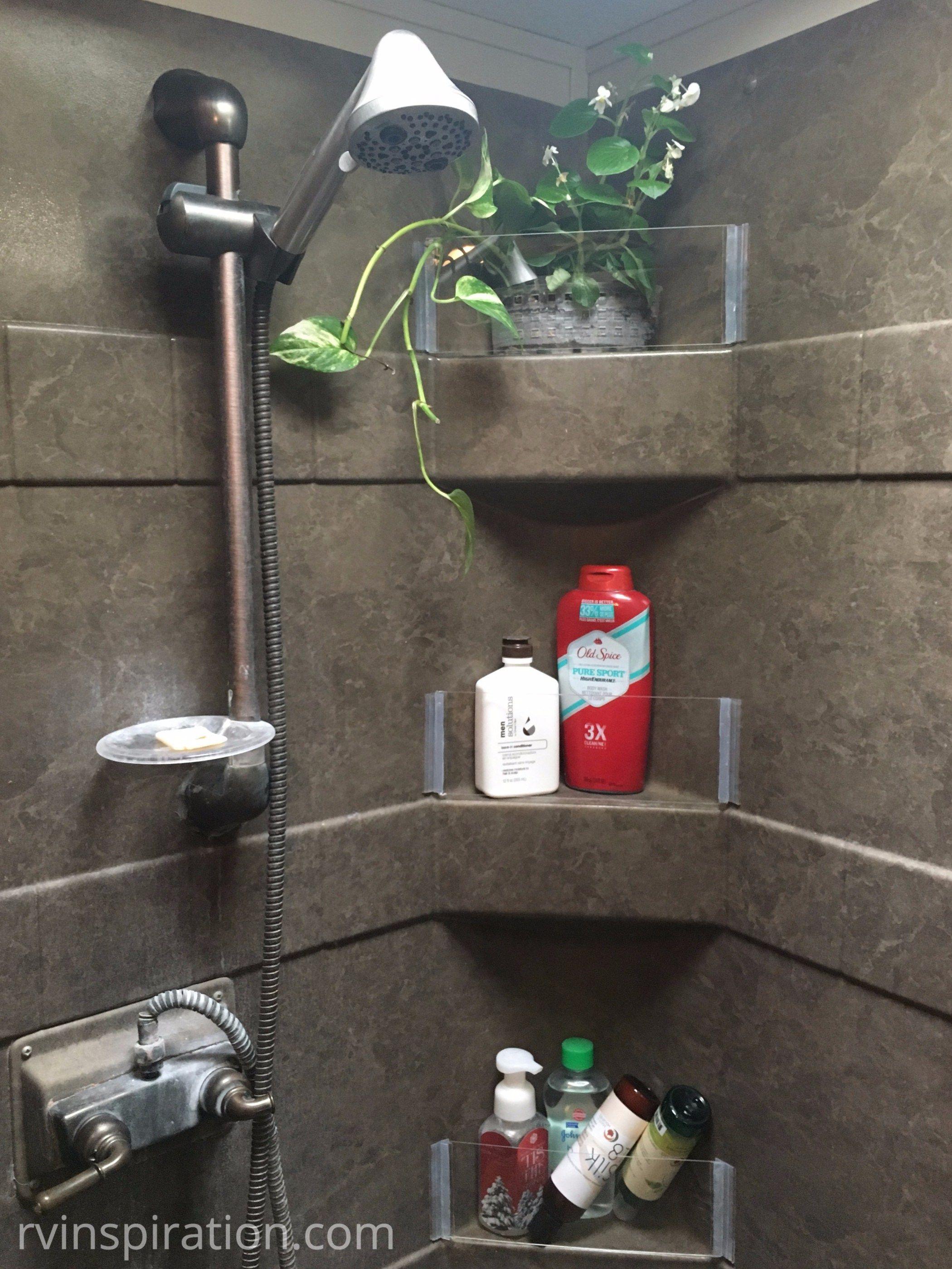 Diy How To Add Removable Walls To Shower Shelves Rv Inspiration Shower Shelves Rv Bathroom Bathroom Storage Organization