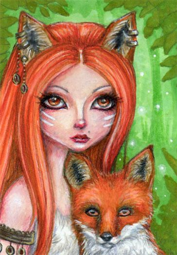 ORIGINAL ACEO ATC LOW BROW ANIME CUTE FOX GIRL FOREST FANTASY ART PAINTING #PopArt