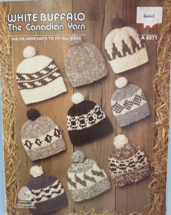 White Buffalo Wool Cowichan Toques 4 Sizes - Sm - X L Knitting Pattern  A  6571 PDF Knitted Cap Patte 2a2ad025db8