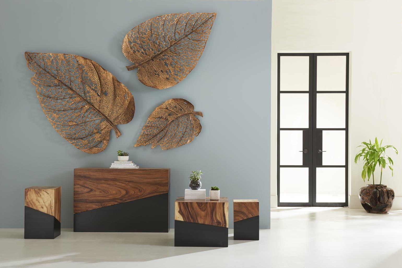 Birch Leaf Wall Art Copper Contemporary Transitional Organic Art Dering Hall Wall Decor Design Home Room Design Home Decor