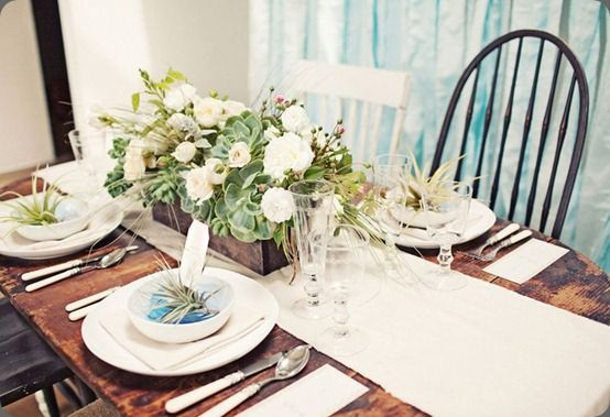 Love the mixture of the flowers and succulents in this table center piece. & Love the mixture of the flowers and succulents in this table center ...