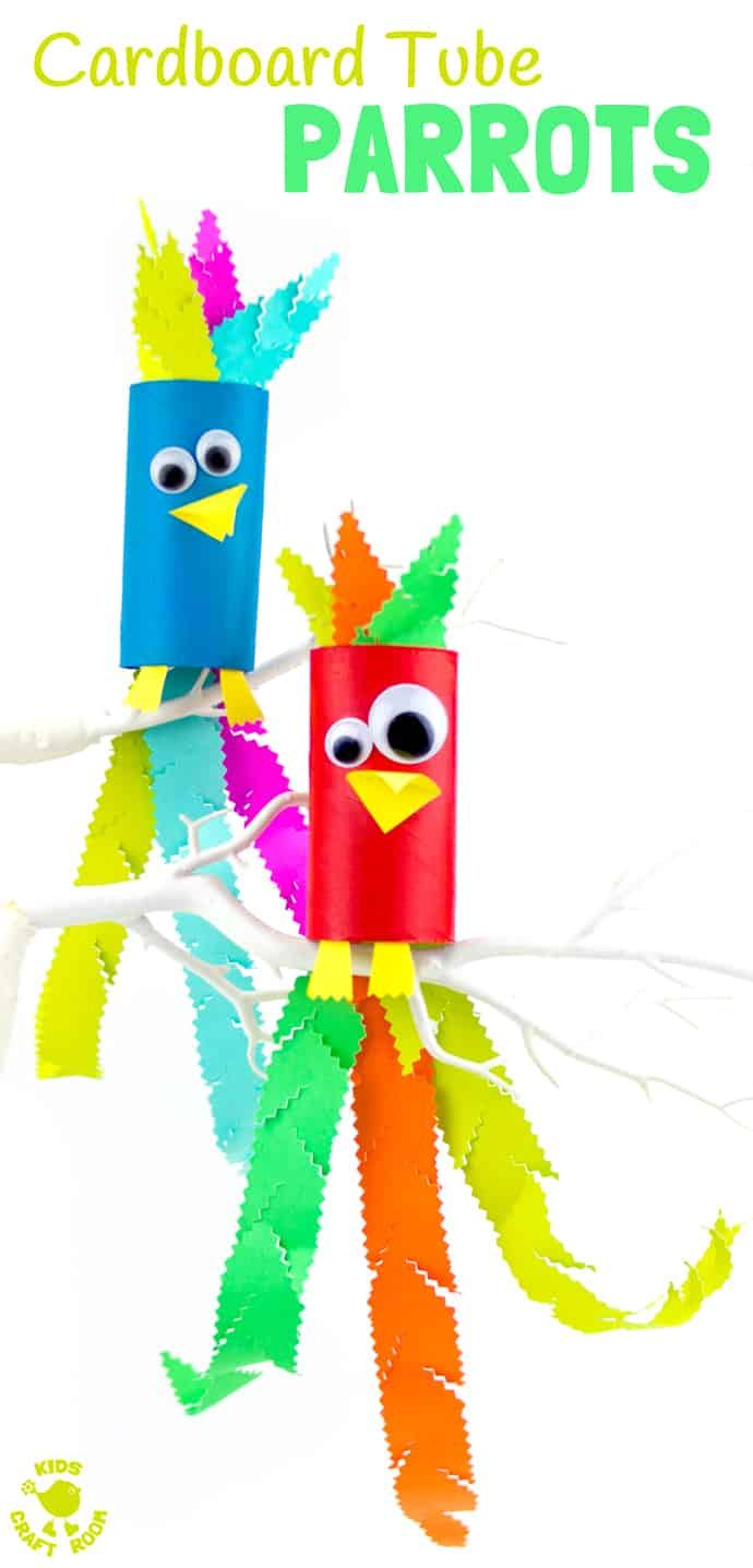 CARDBOARD TUBE PARROT CRAFT - Squawk! What a fun jungle craft for kids.  A colourful tropical bird craft that gives lots of fine motor scissor skills practice. #parrot #parrots #parrotcrafts #jungle #junglecrafts #jungleanimals #kidscrafts #cardboardtubes #tprolls #cardboardtubecrafts #birdcrafts #animalcrafts #craftsforkids #kidscraftroom #kidscrafts #kidsactivities #piratecrafts via @KidsCraftRoom