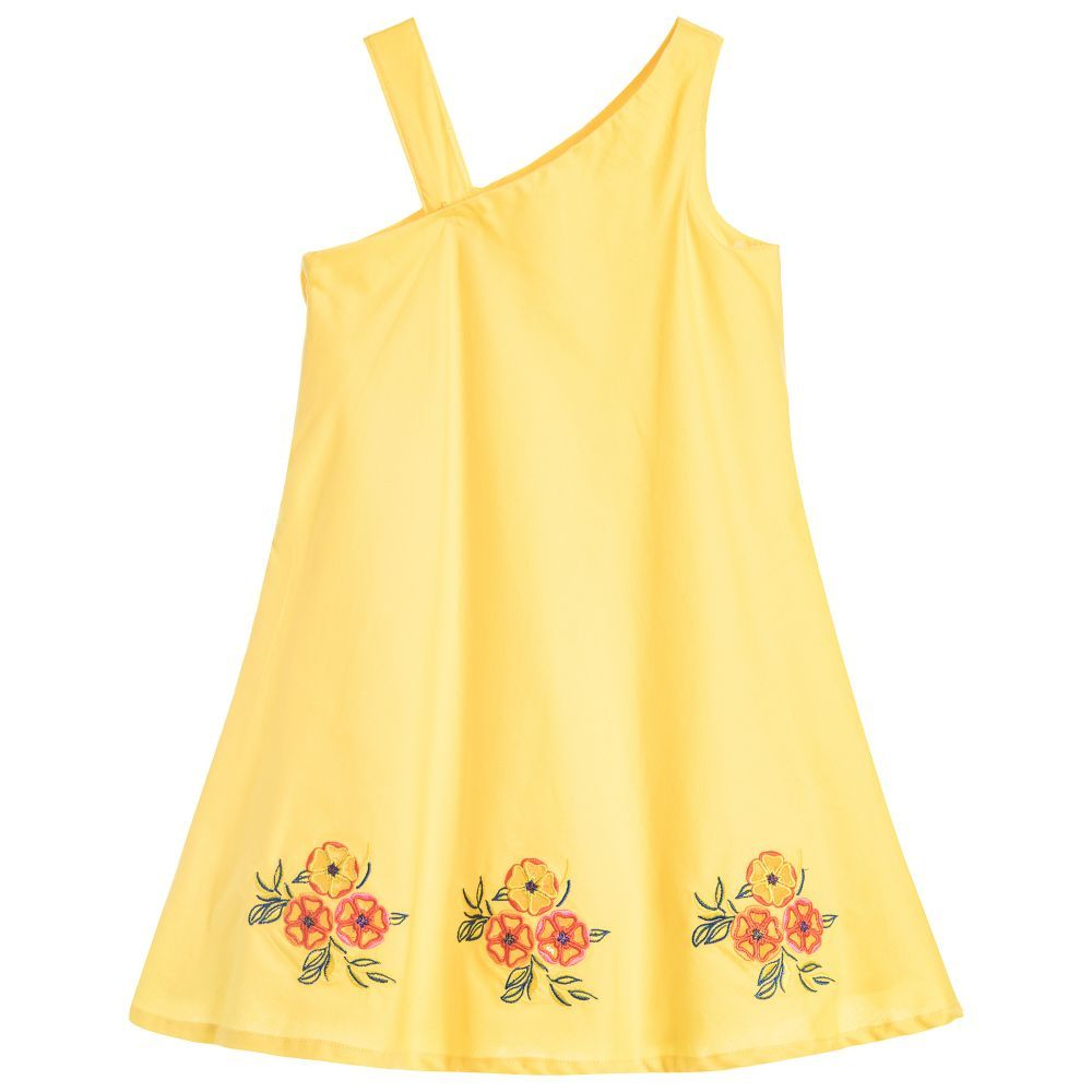 Girls pretty cotton dress by MSGM, perfect for warm, sunny days. The hemline is beautifully embroidered, making the dress extra-special, and it has a concealed zip fastener on one side seam, so is easy to take on and off.