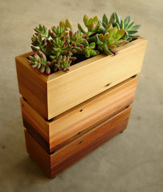 3ft Redwood Flower Planter Box For Windows By Redwoodgardens: Succulent Planter Box In Recycled Cedar, With Gravel And