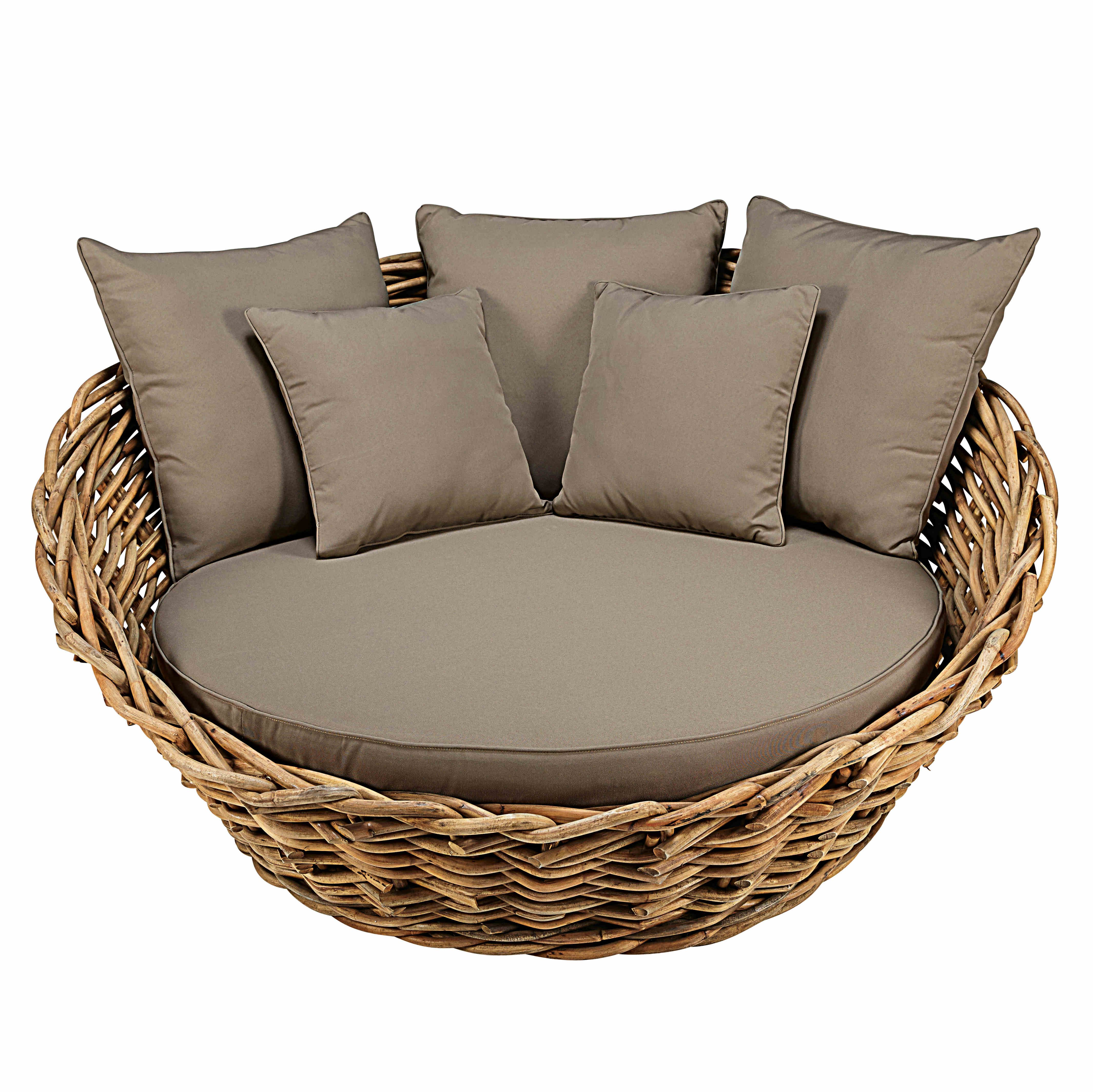 canap rond de jardin en rotin et coussins taupe gartensofa loungem bel garten und rattan. Black Bedroom Furniture Sets. Home Design Ideas