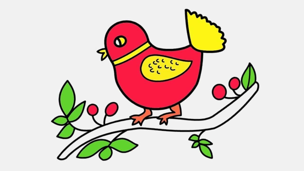Colorful Bird Drawing And Coloring Example Coloring For Kids Bird Drawings Coloring Pages For Kids