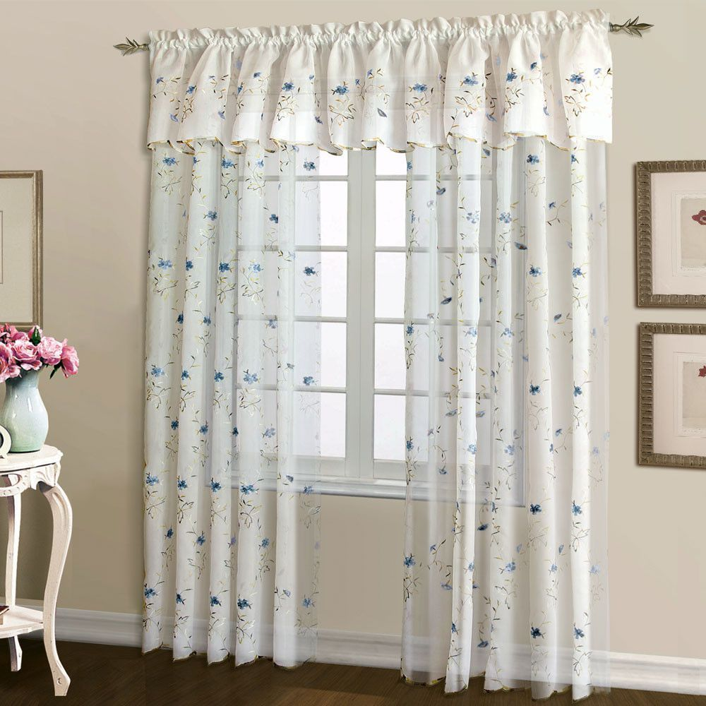 Loretta Sheer Embroidered Panel And Valance Products Cortinas