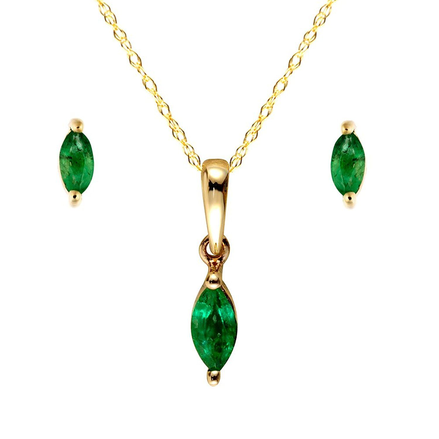 Ivy gems ct yellow gold emerald marquise earrings and pendant set