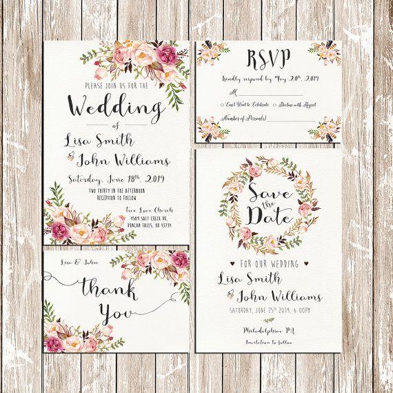Invitation kit wedding invitation pink floral rustic boda invitation kit wedding invitation pink floral rustic junglespirit Images