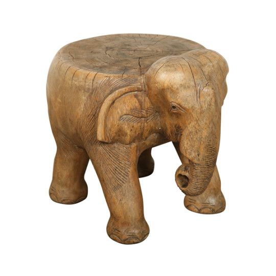 Image Of Hand Carved Wooden Elephant Stool African Wood Carvings