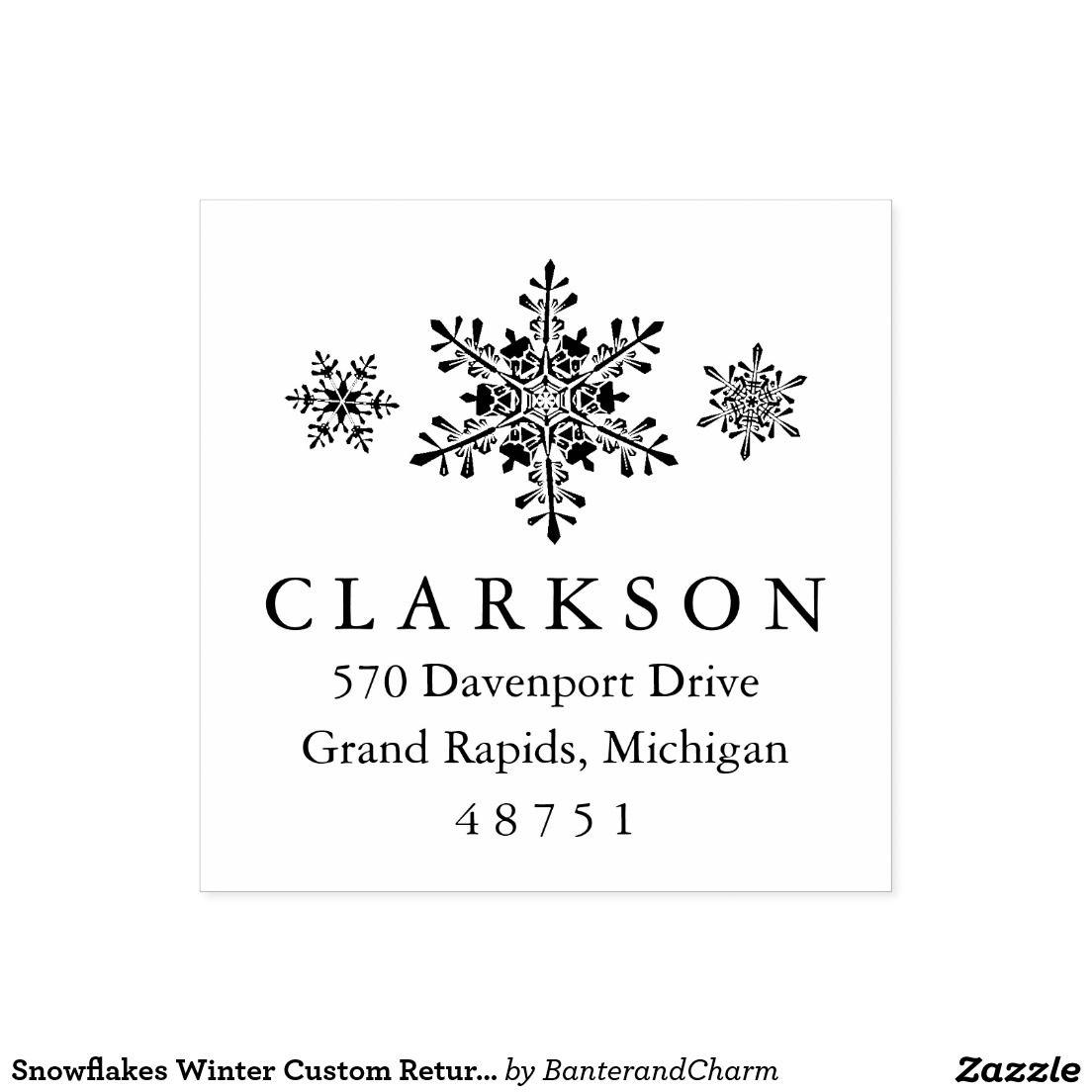 Snowflakes Winter Custom Return Address Stamp | Christmas