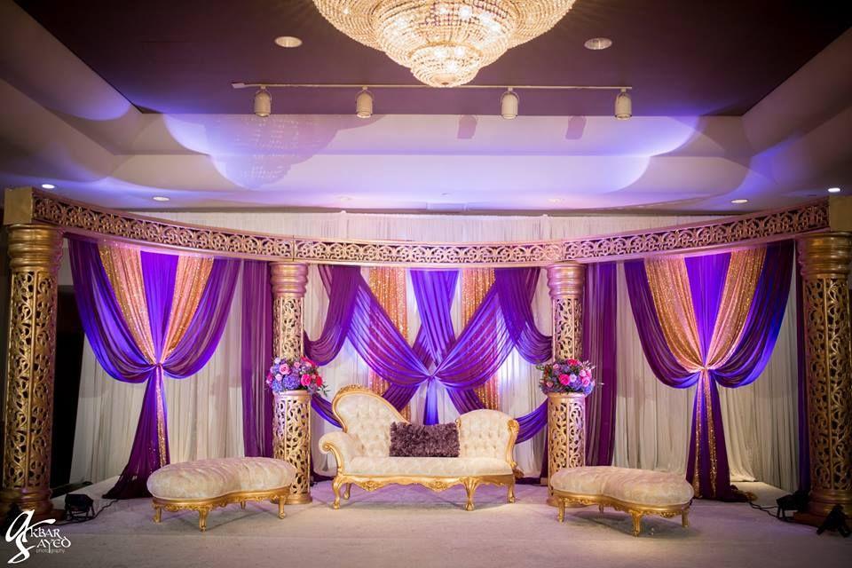 A Purple And Gold Themed Walima Reception Pakistaniwedding