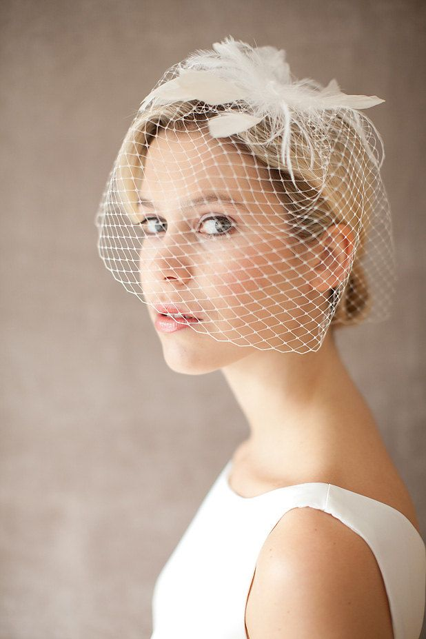 bridal wedding veil birdcage feather headpiece diva. Black Bedroom Furniture Sets. Home Design Ideas