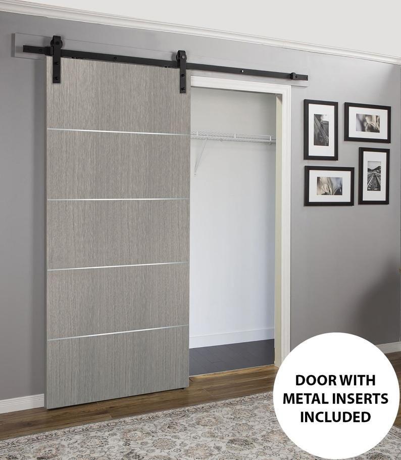 Barn Door Grey With Rail 6 6ft Hardware Planum 0020 Grey Oak Etsy In 2020 Modern Door Interior Barn Doors Barn Door