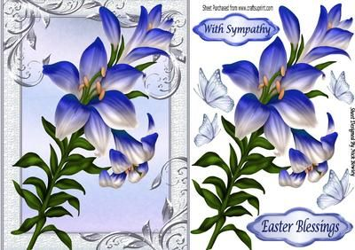 Pretty blue lillies and butterflies on Craftsuprint - Add To Basket!