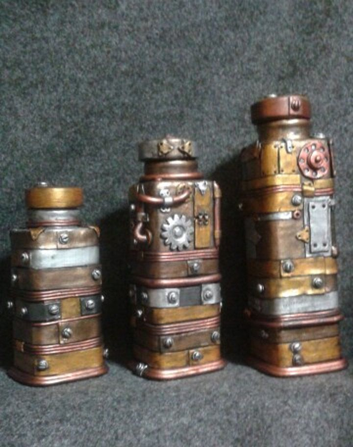 Set Of 3 Steampunk Industrial Canisters Sculpted Polymer