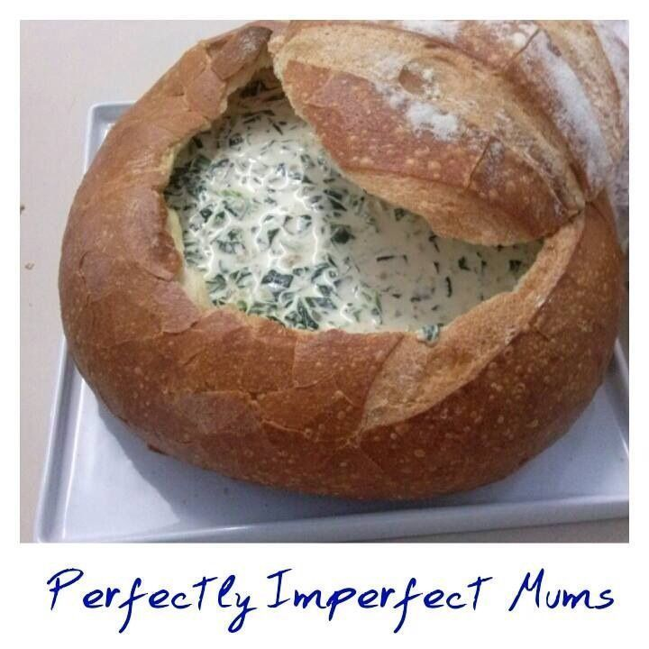 Spinach dip cob loaf 250gms frozen spinach 1 cup of sour cream 1 cup whole egg mayonnaise 1 packet of dry soup mix (vegetable or French onion) Cob loaf Thaw out spinach and mix it in a mixing bowl with the mayo, sour cream and dry soup mix and put in fridge. Cut a hole in the cob loaf, pull out the insides and put in all in the oven for a few minutes to crisp up, then put the spinach mix in the cob loaf, break bits of the cob loaf off to use for dipping. #cobloaf Spinach dip cob loaf 250gms froz