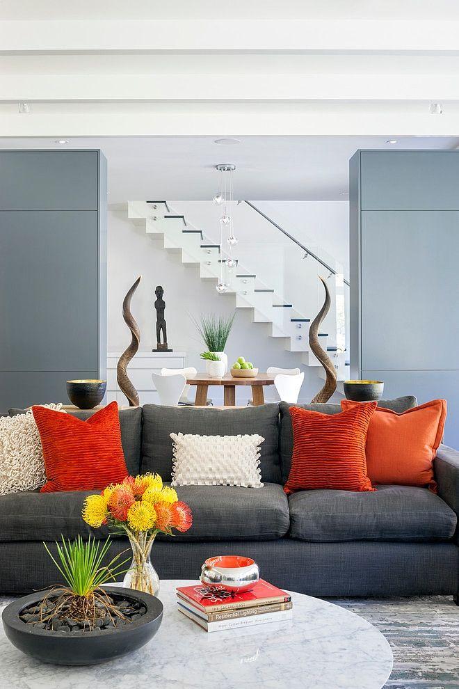 Living Room Orange Grey Sofa, Living Room Paint Ideas With Grey Furniture