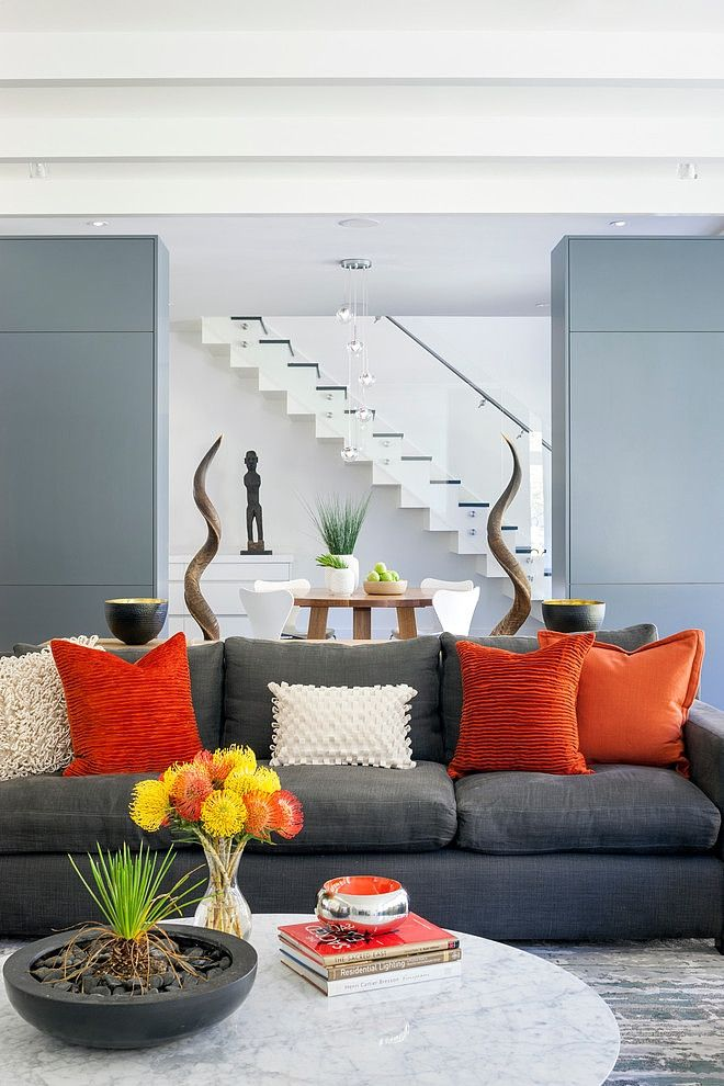 Courtyard Residence By Lda Architecture Interiors Homeadore Living Room Orange Grey Sofa Living Room Living Room Grey