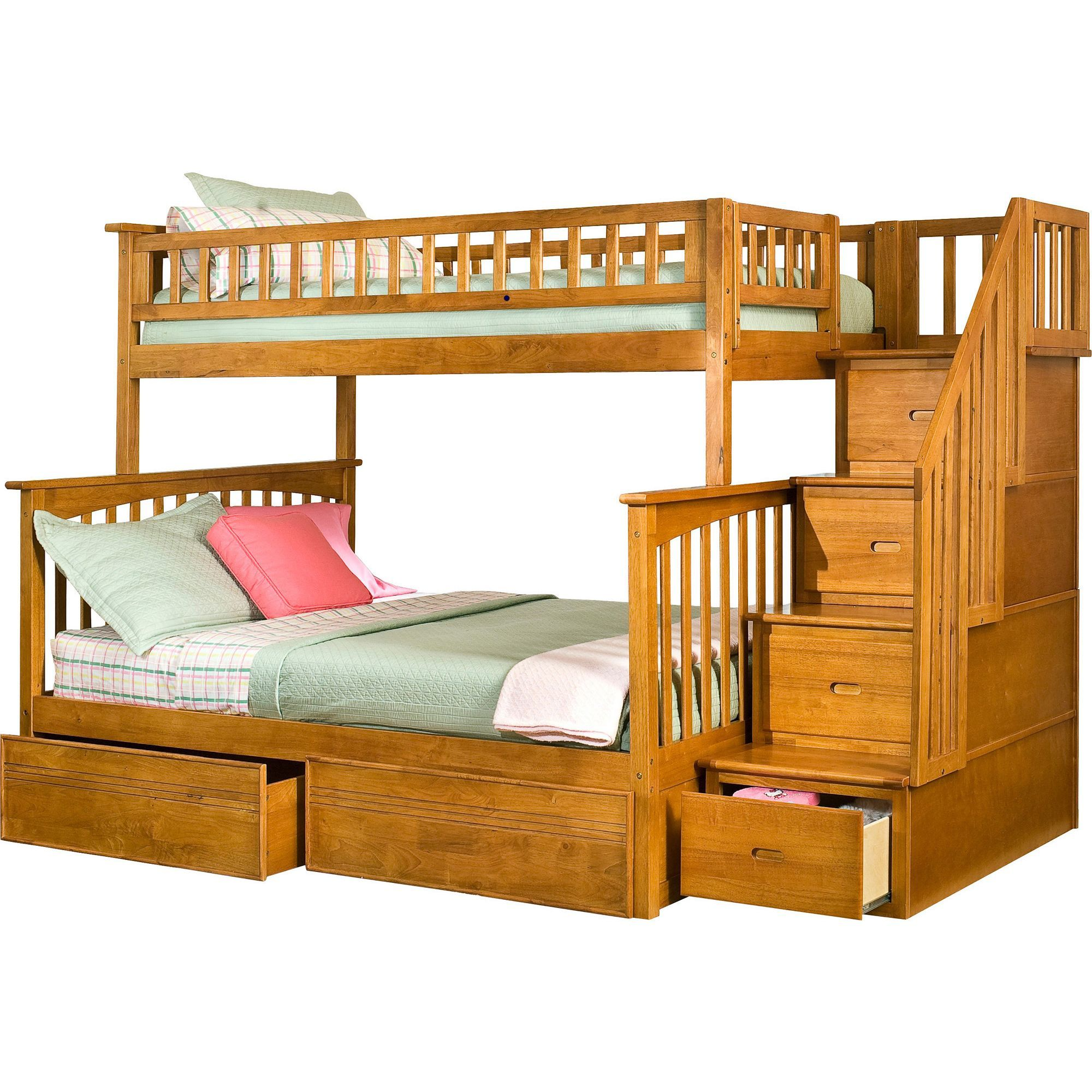 atlantic columbia staircase bunk bed twin over full with flat